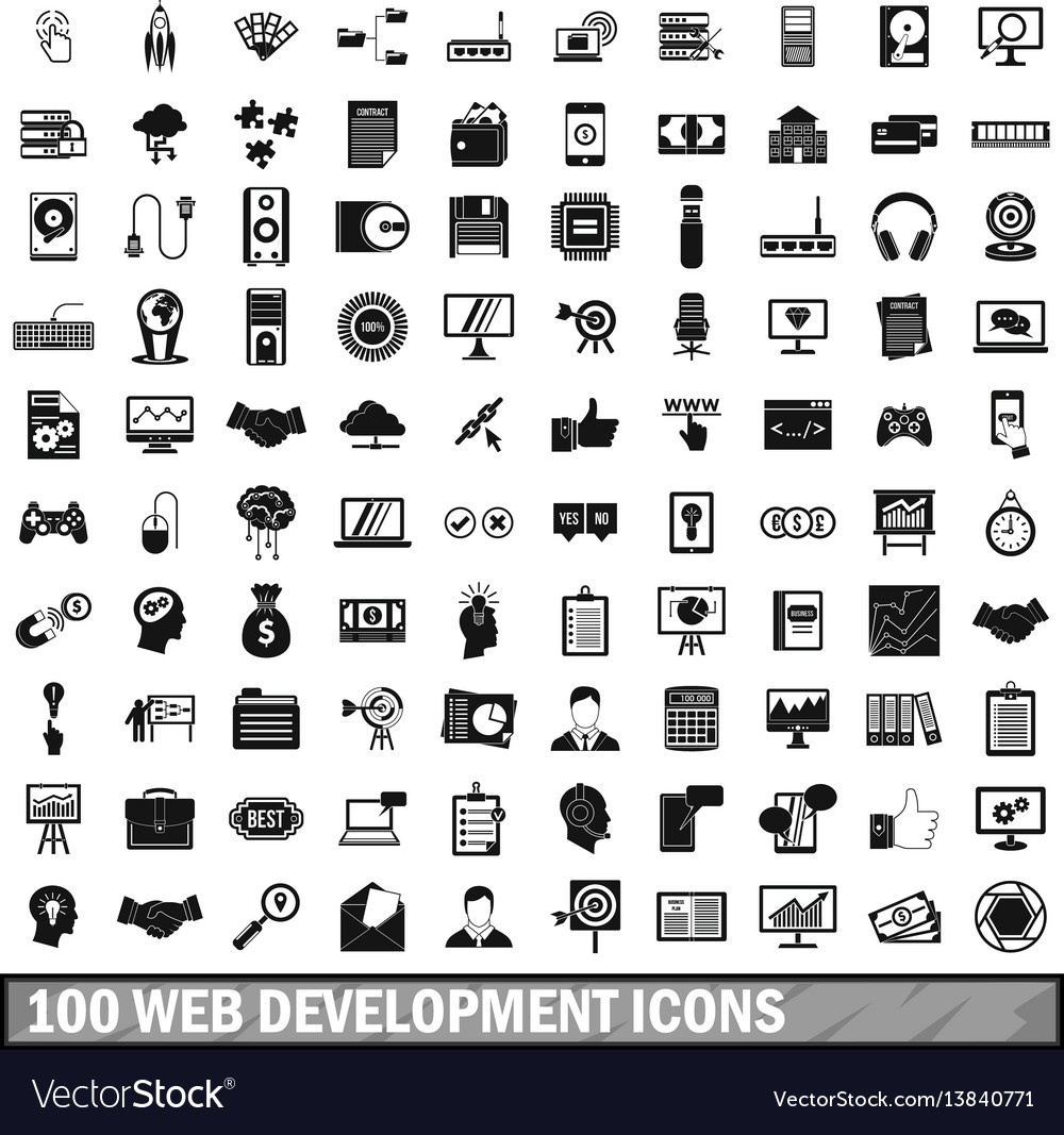 100 web development icons set simple style