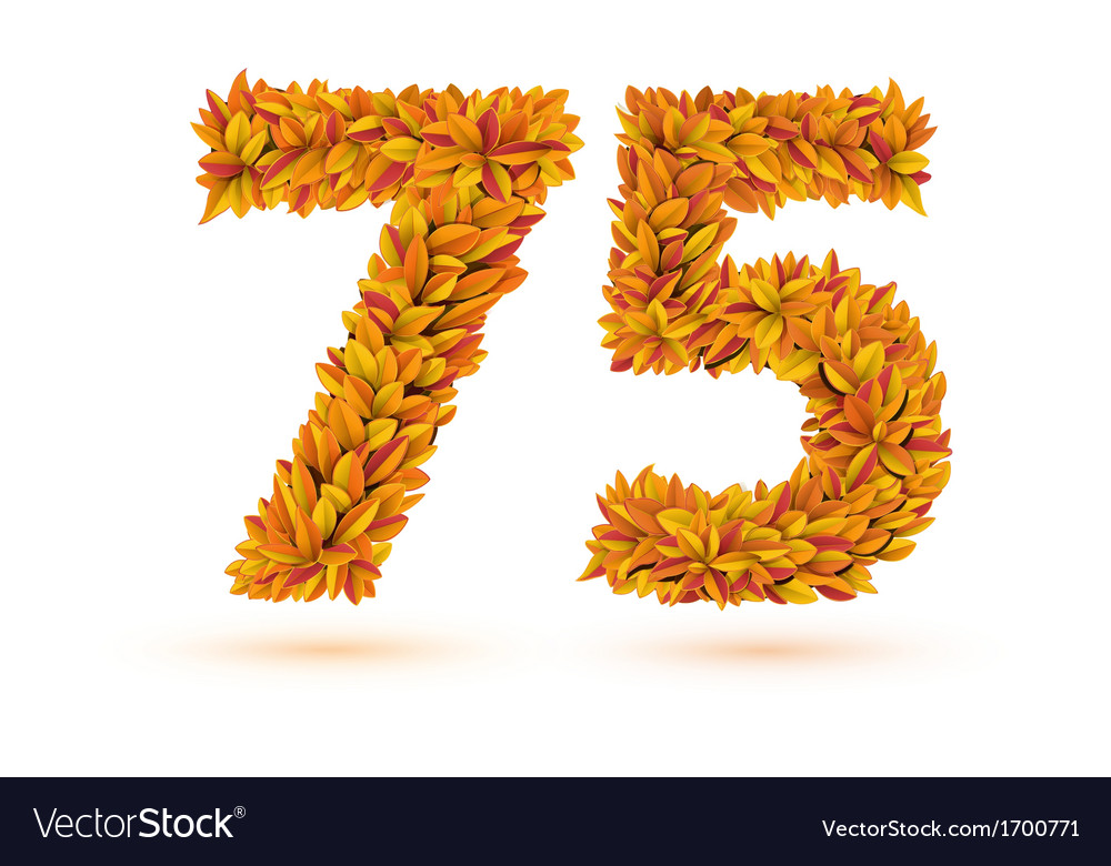 75 number of autumn fall bright orange leaves vector image