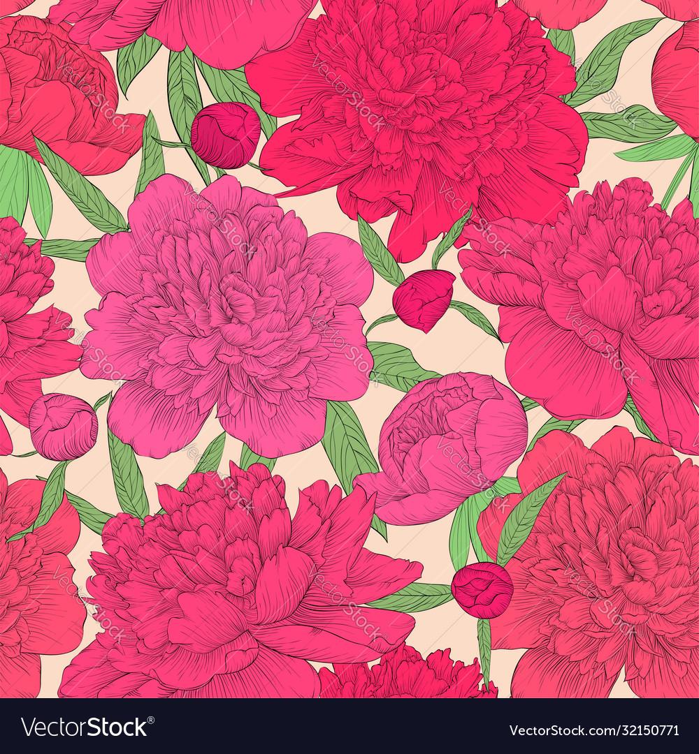Beautiful seamless background pink peonies