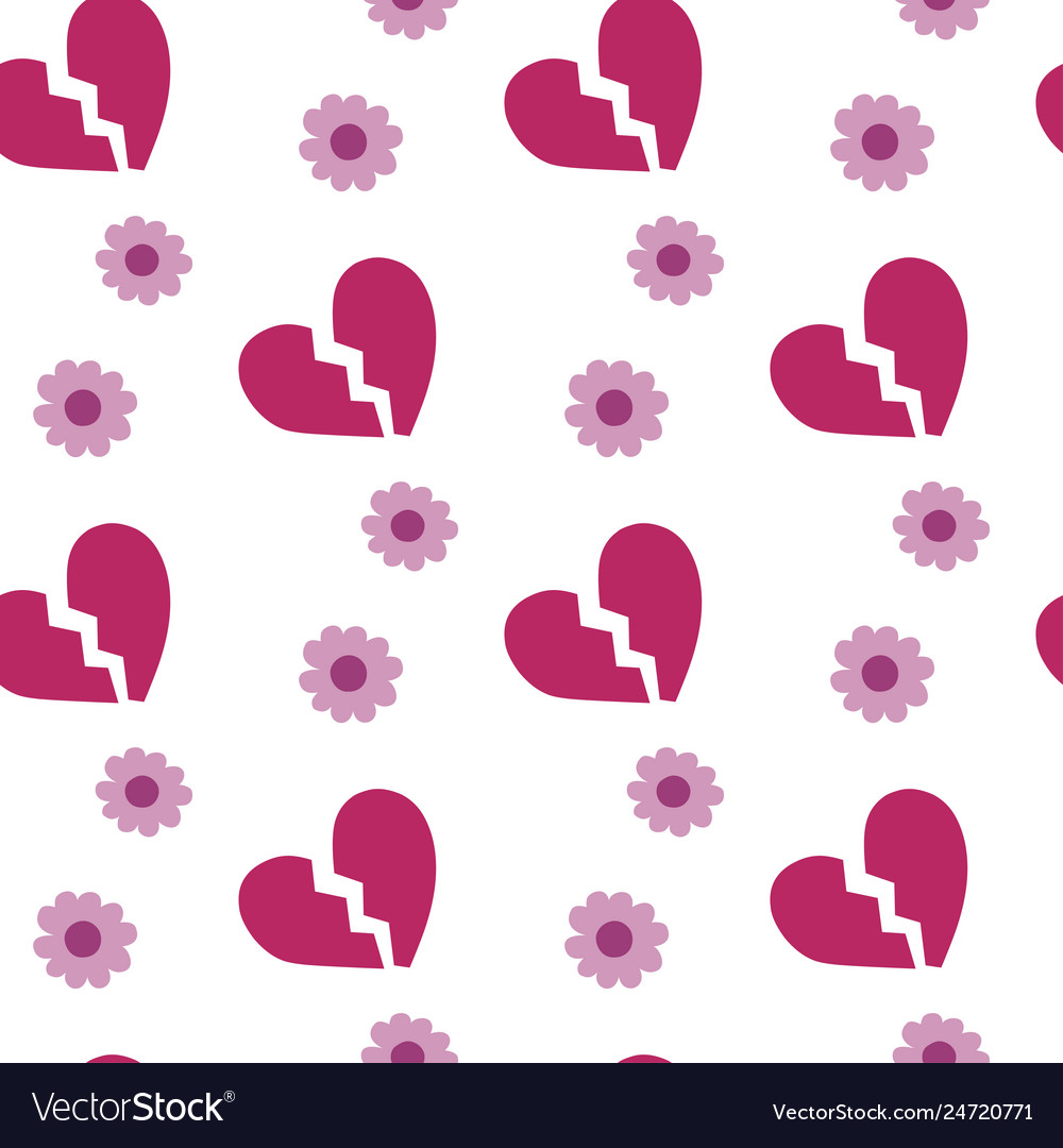 Broken heart on white background seamless pattern