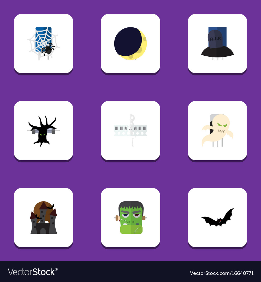 Flat icon celebrate set of monster crescent