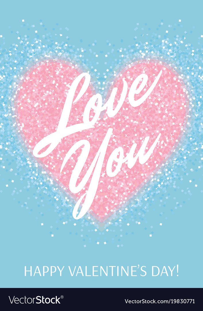 Greeting card with pastel pink glitter heart and