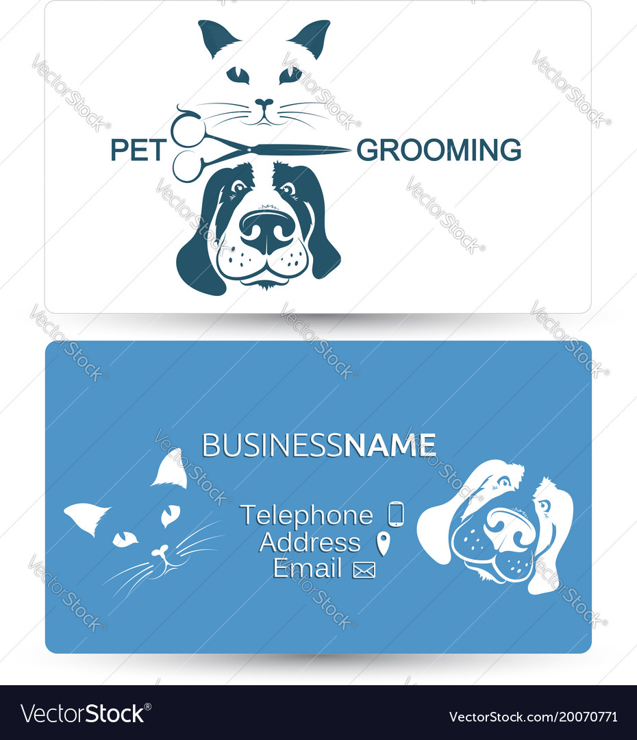 Grooming of dogs and cats business card Royalty Free Vector