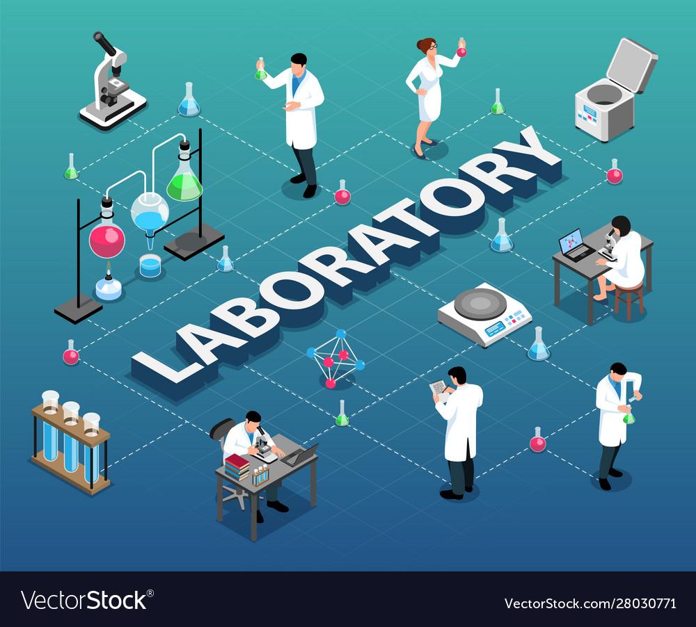 Isometric laboratory flowchart composition