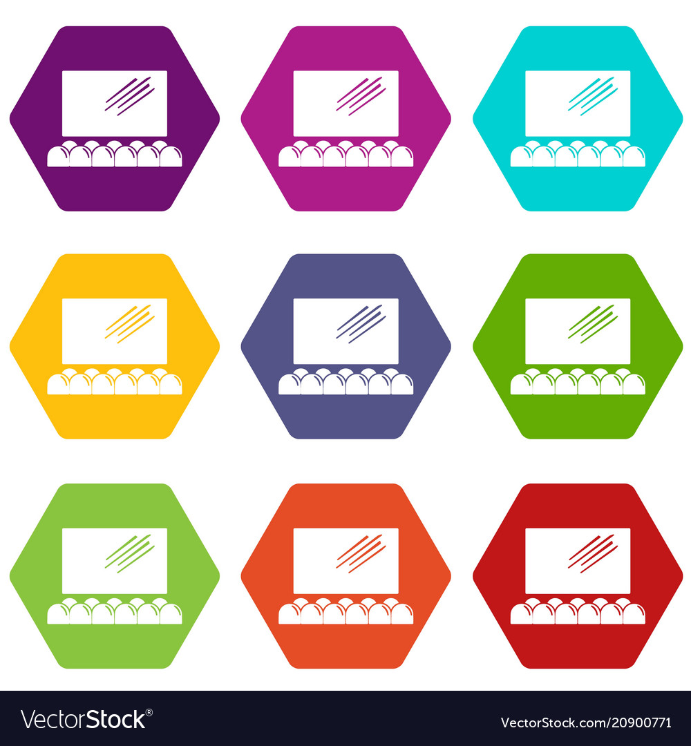 Movie theater screen icons set 9