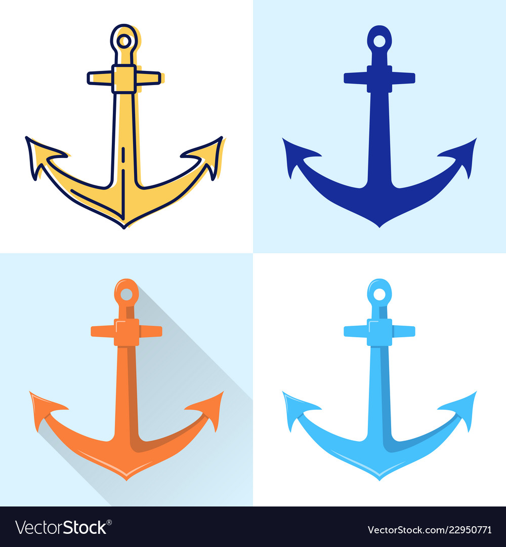Nautical anchor icon set in flat and line styles