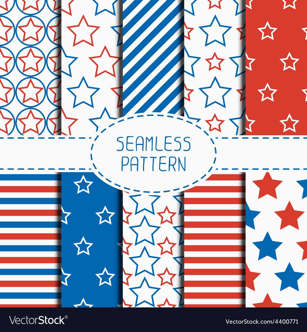 Set of geometric patriotic seamless pattern with