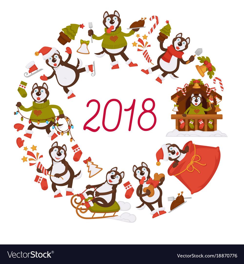 2018 new year dog cartoon character celebrating