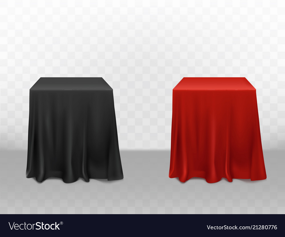 Realistic Red Black Silk Tablecloth Vector Image