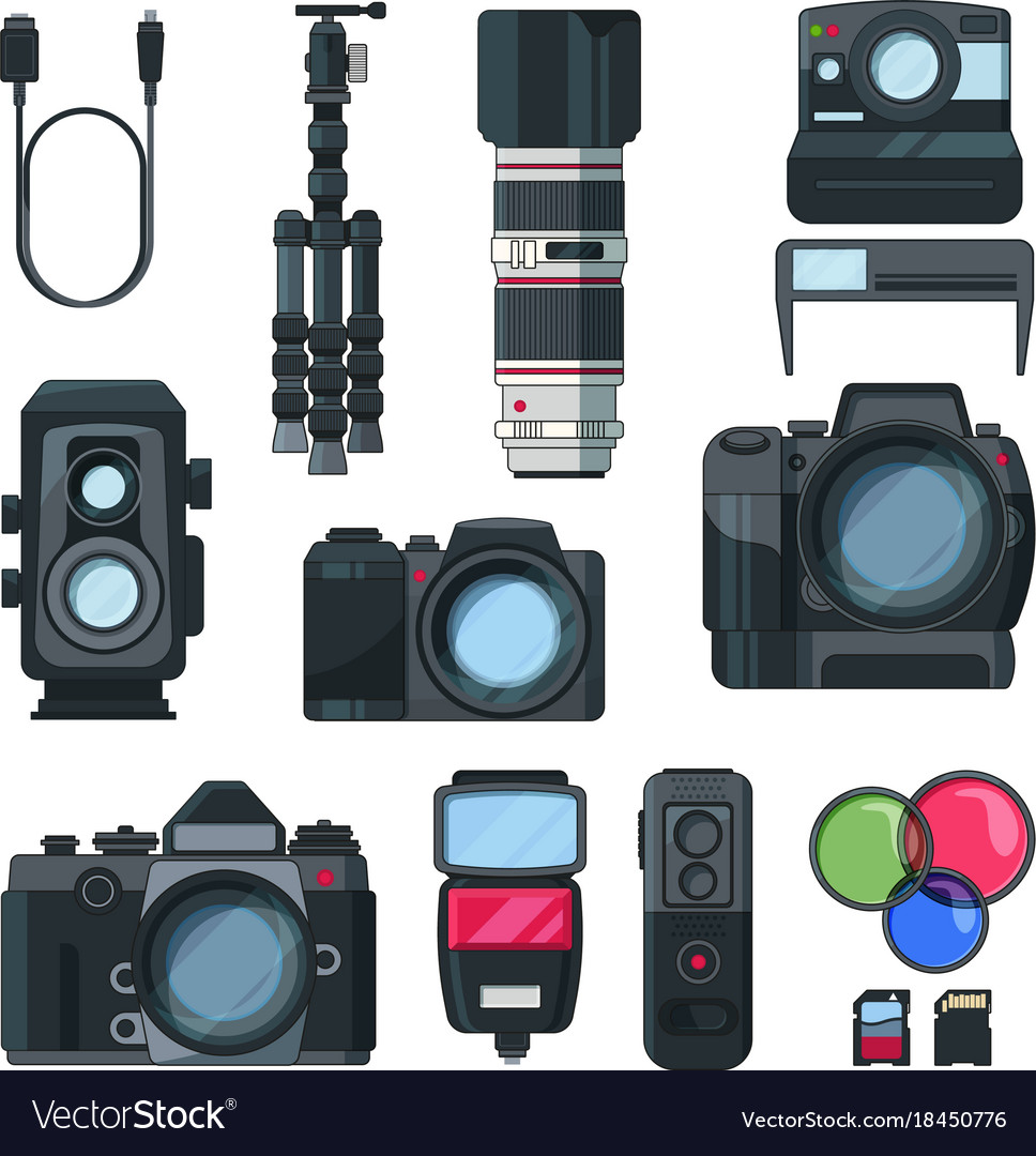 Digital photo and video cameras in cartoon style vector image