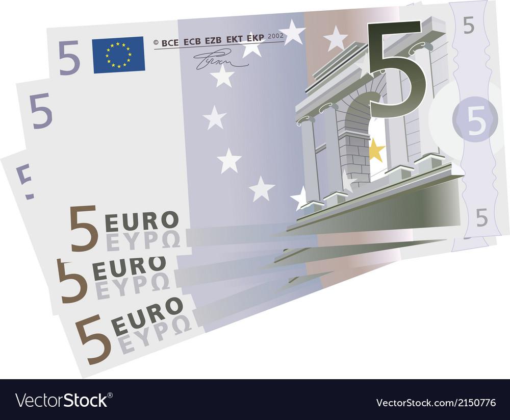 Drawing Of A 3x 5 Euro Bills Vector Image