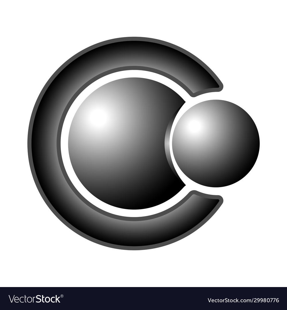 Logo two steel balls and letter c