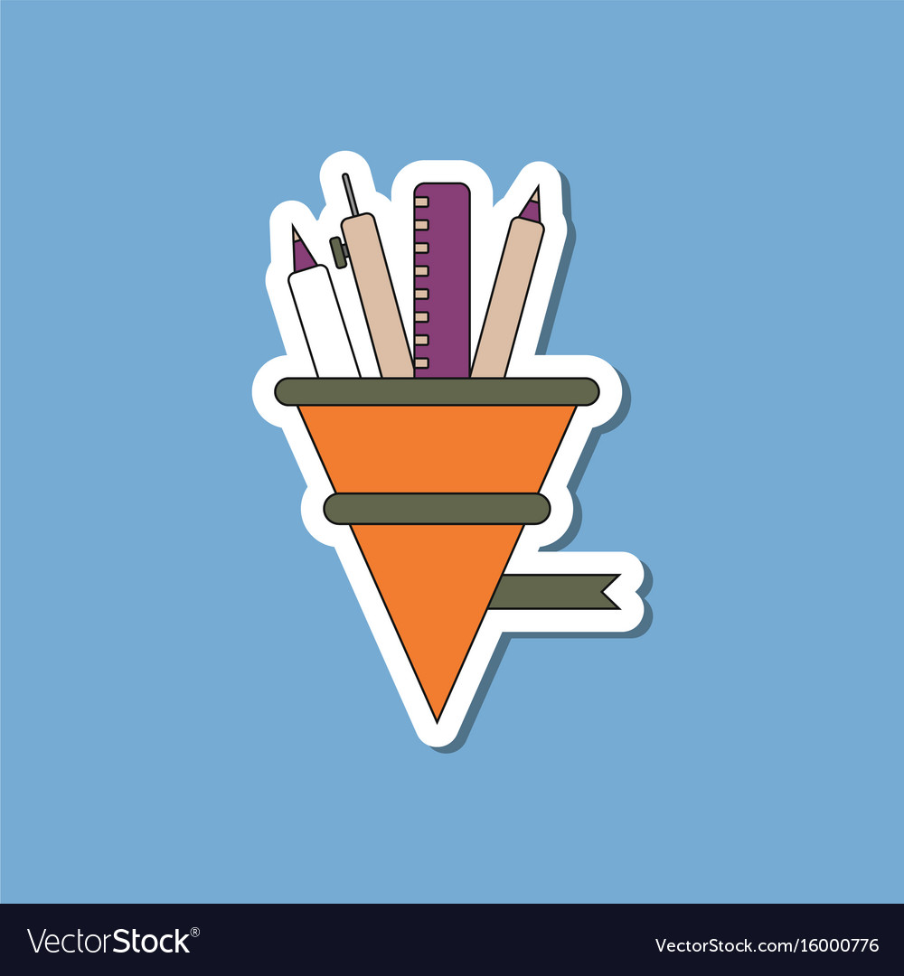 Paper sticker on stylish background pencil pen vector image
