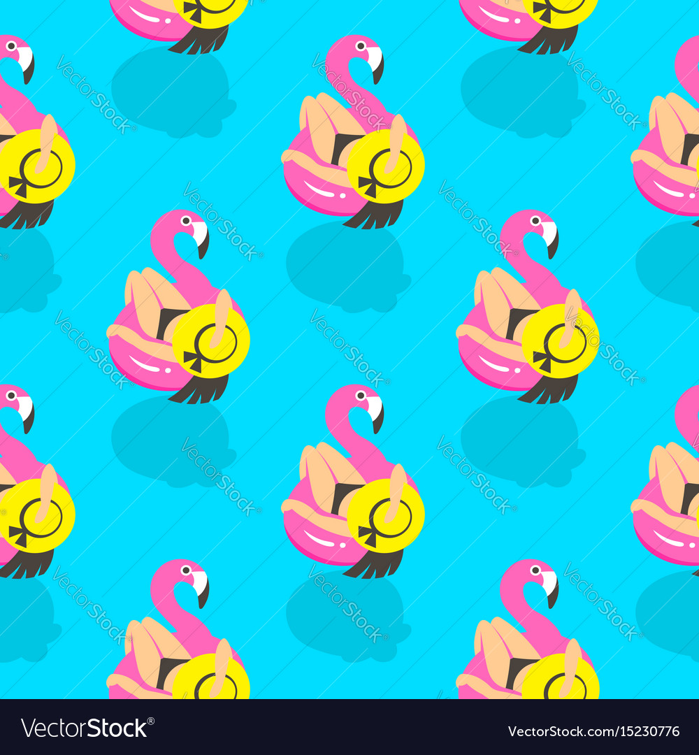 Seamless pattern with girls on an inflatable pink