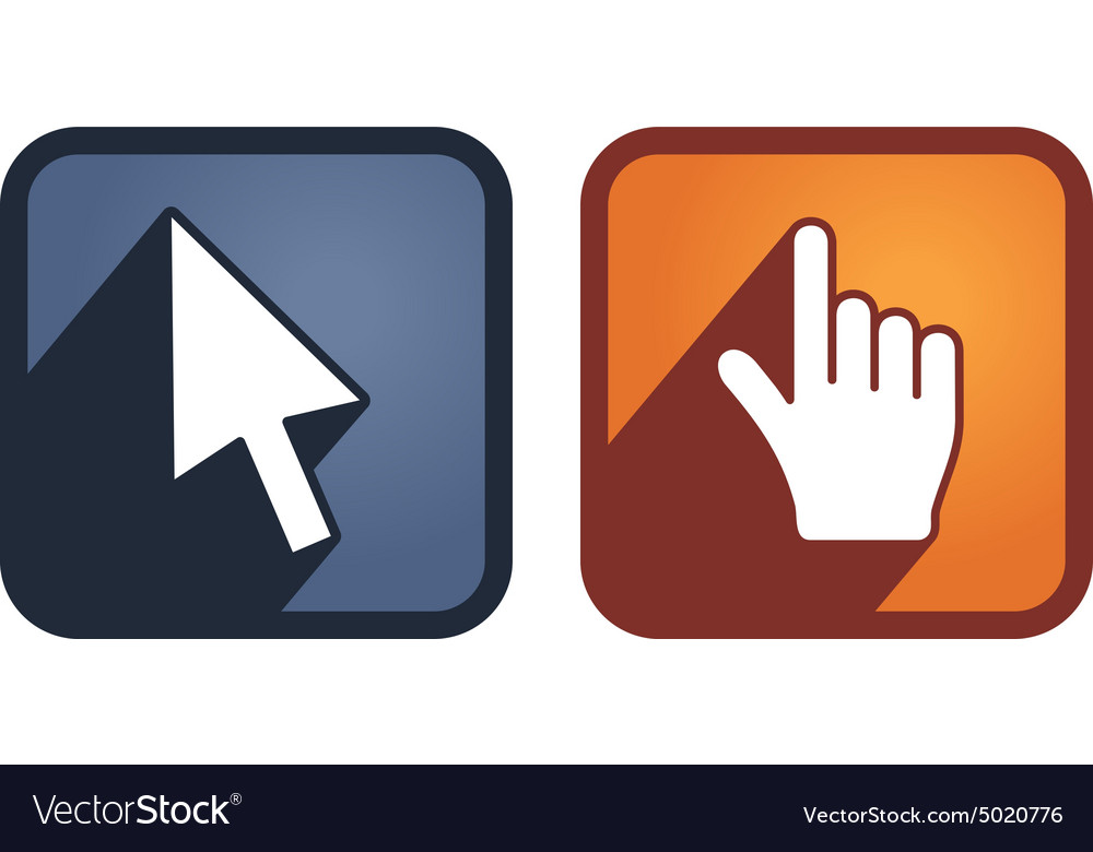 Set of hand and arrow cursors