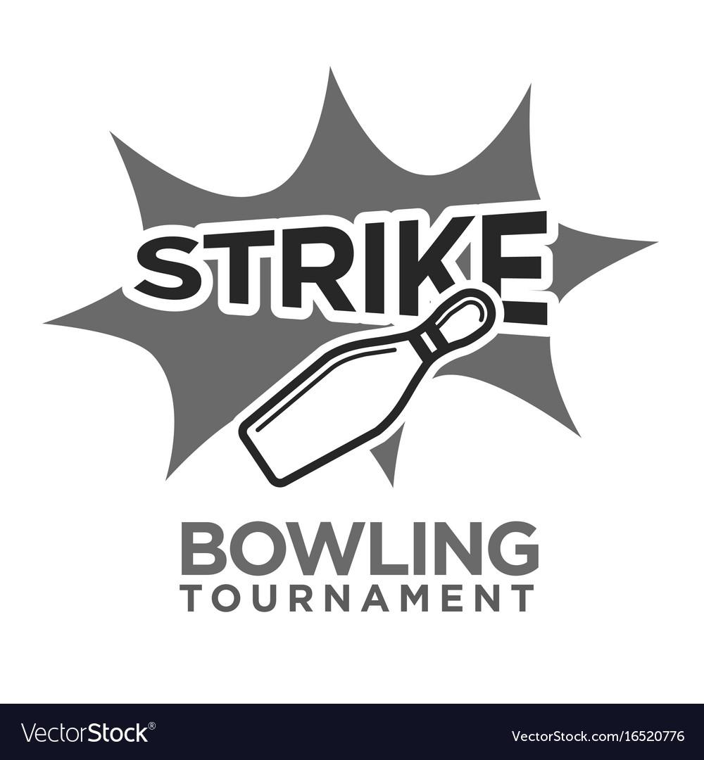 Strike bowling tournament monochrome logotype with