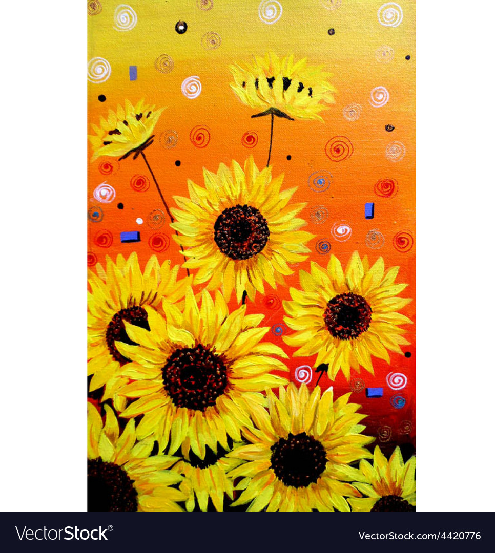 Sunflowers acrylic painting Verson vector image