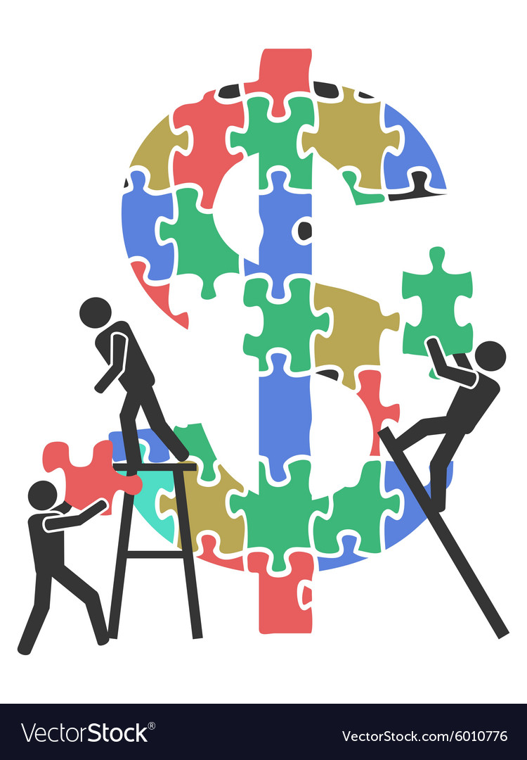 Teamwork money sign Jigsaw puzzle vector image