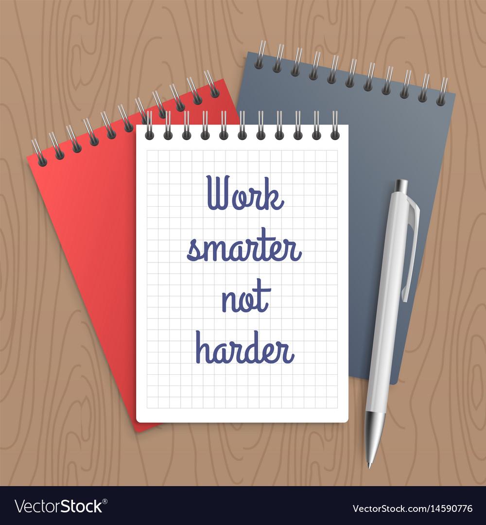 Text work smarter not harder vector image