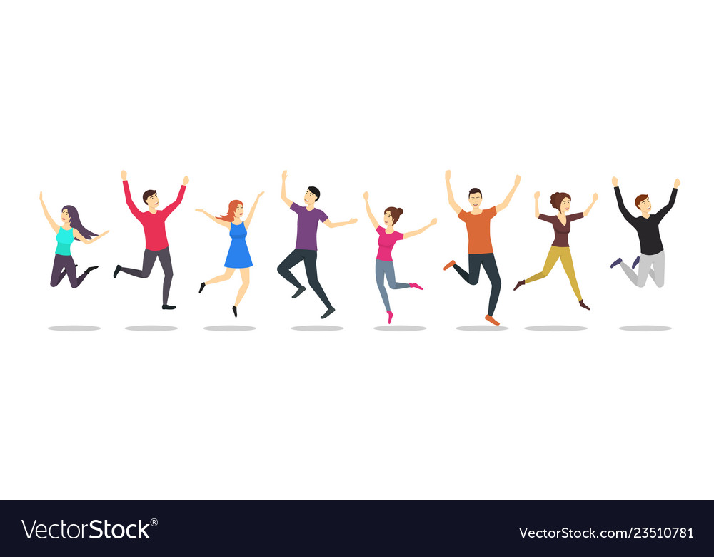 Cartoon color jumping characters people set