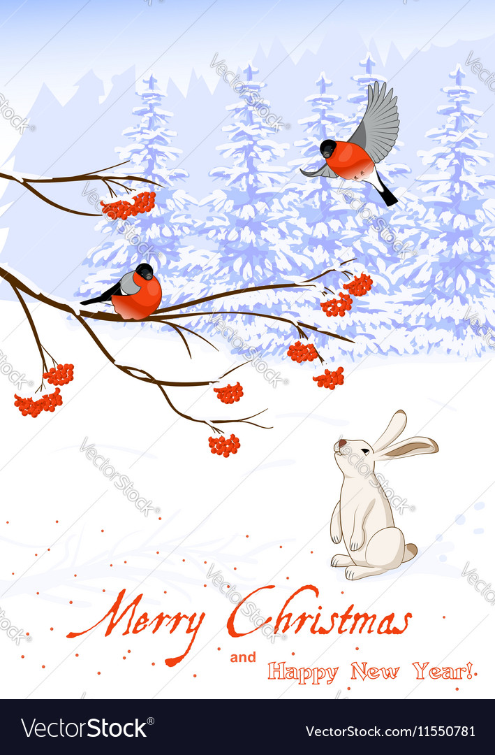 Christmas and New Year Greeting Card with