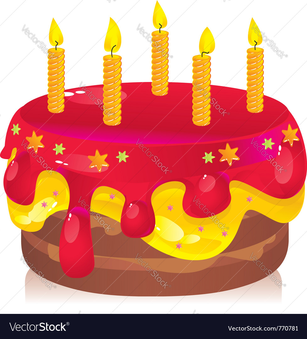 Colorful Birthday Cake Royalty Free Vector Image