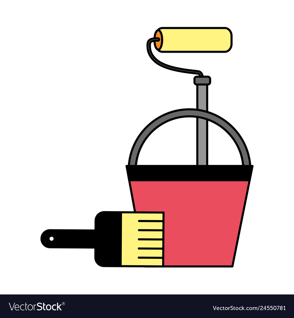 Construction repair bucket roller paint brush