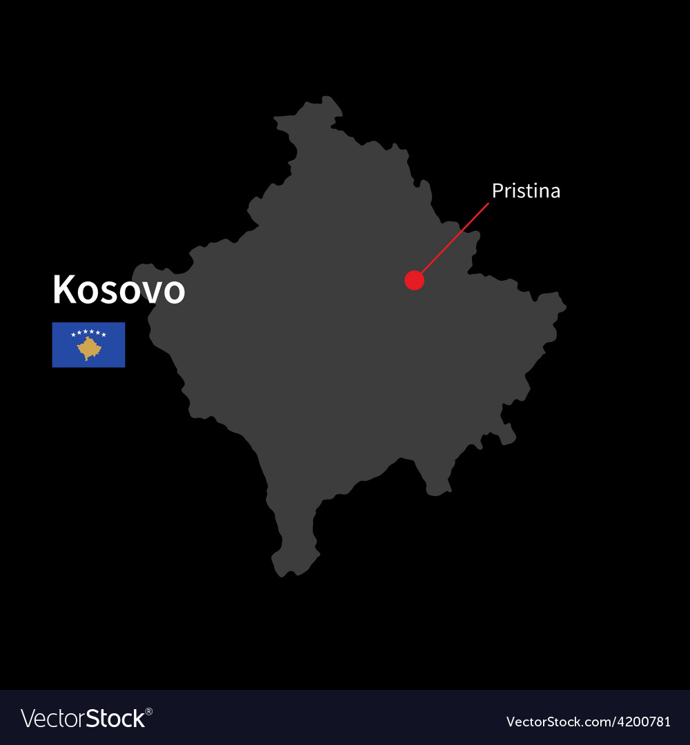Detailed map of kosovo and capital city pristina vector image gumiabroncs Images