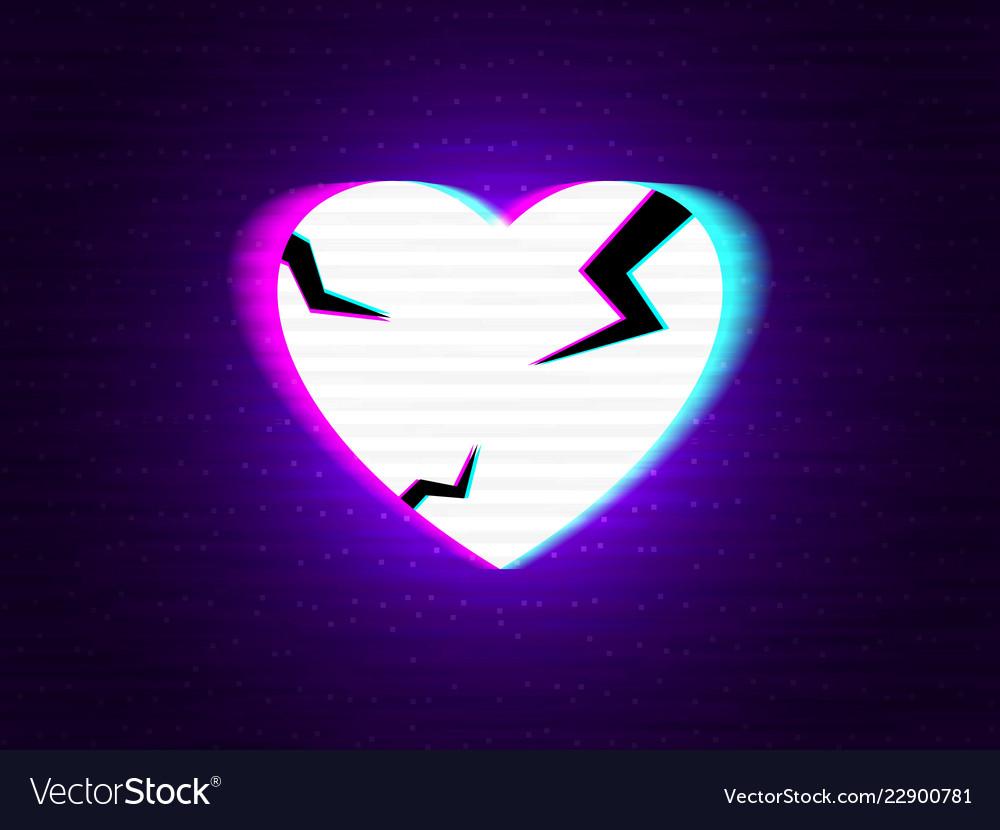 Glitch heart broken distorted neon love on modern