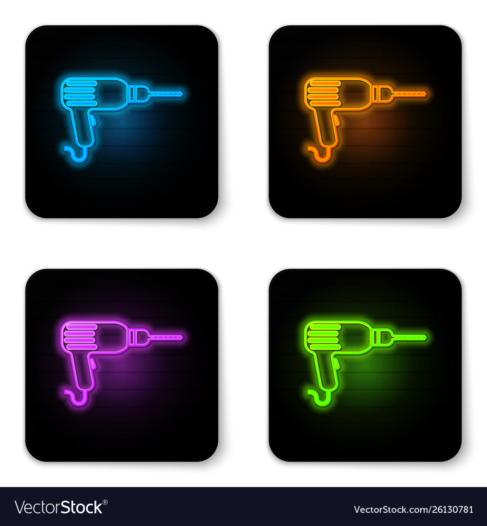 Glowing neon drill machine icon isolated on white