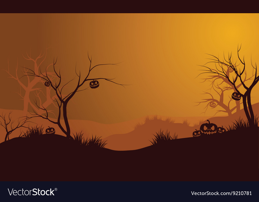 Halloween dry forest and pumpkins silhouette