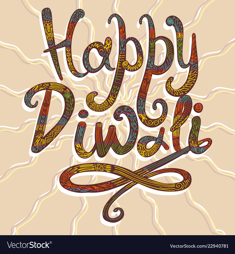 Happy diwali concept background hand drawn style