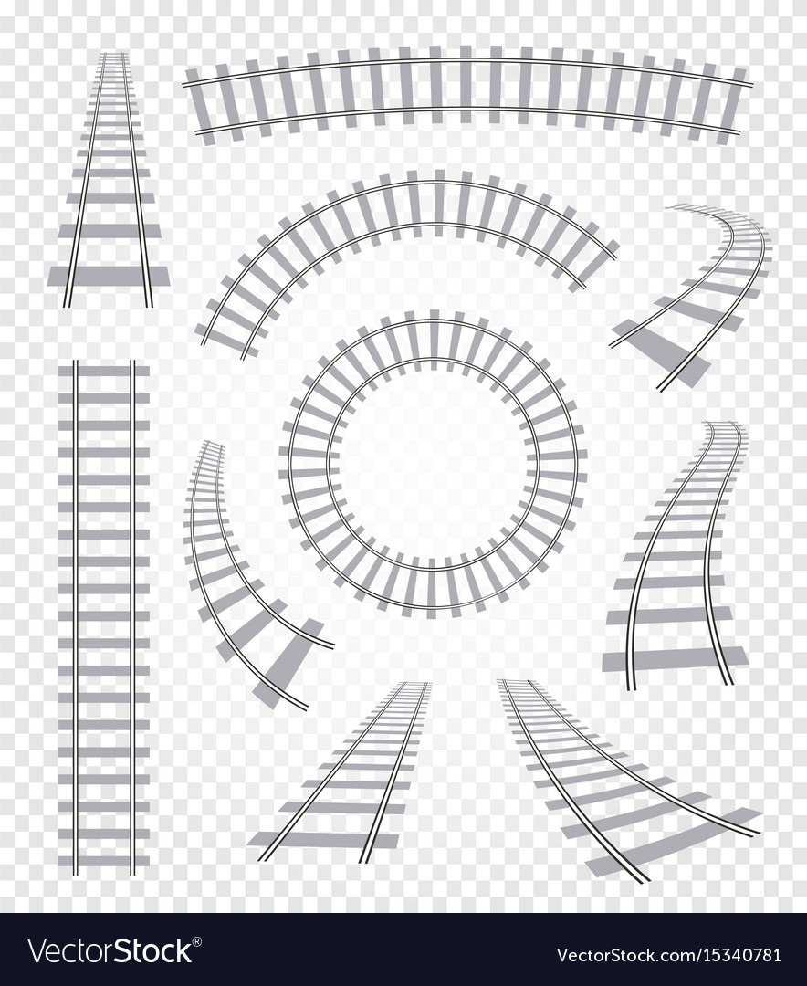 Isolated curvy and straight rails set railway top