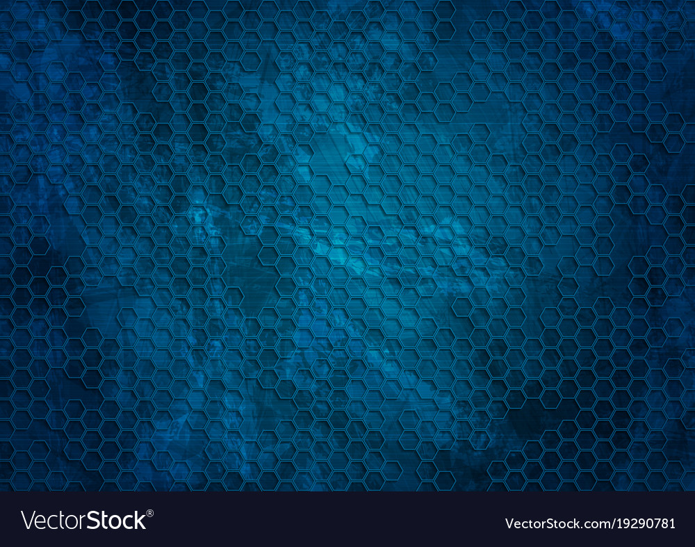 Blue Grunge Background: Old Dark Blue Grunge Hexagons Texture Background Vector Image