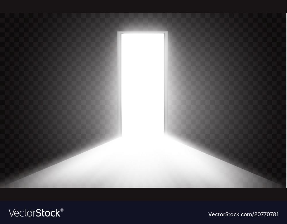 Open the door in a dark room with light passing Vector Image