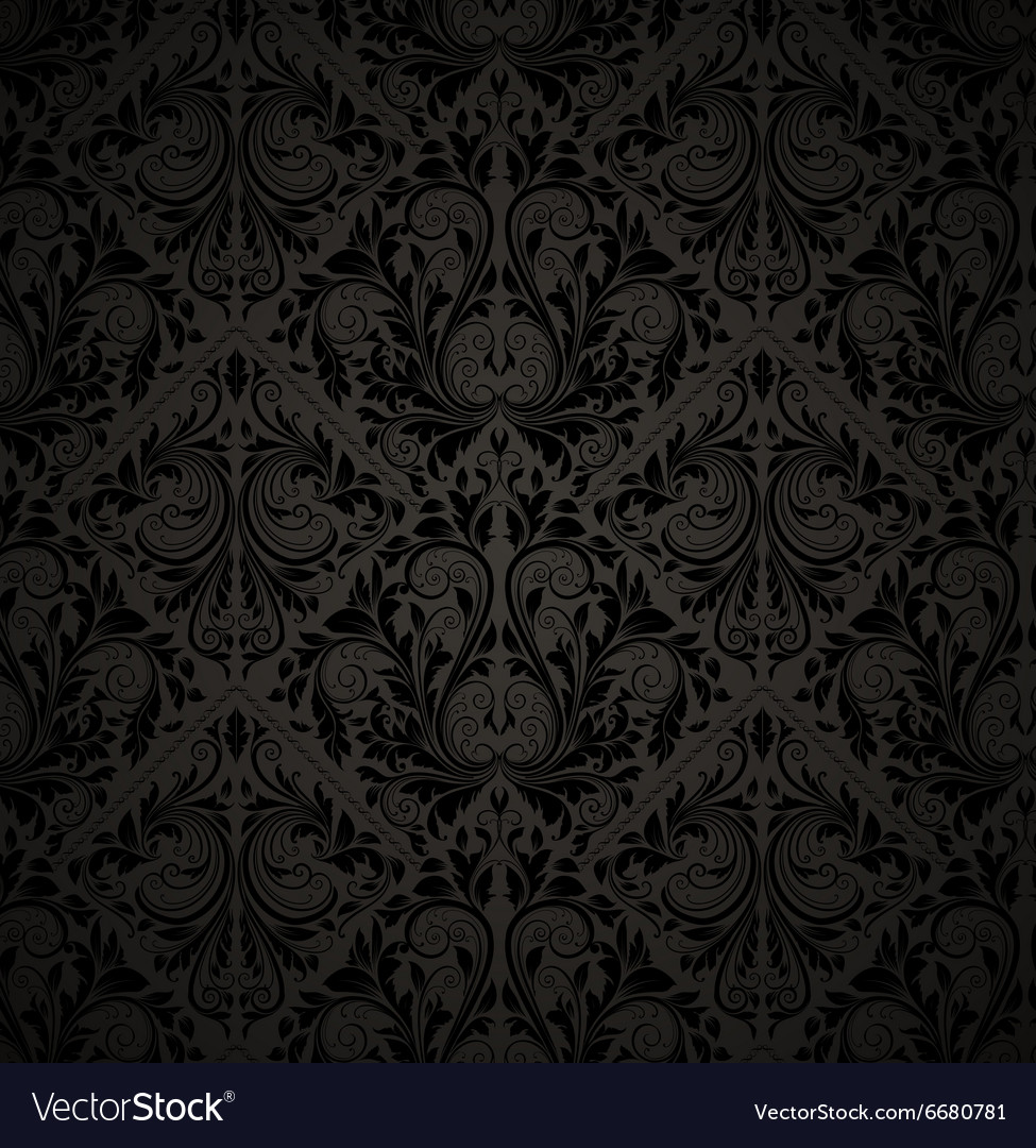 Seamless Black Floral Wallpaper Royalty Free Vector Image