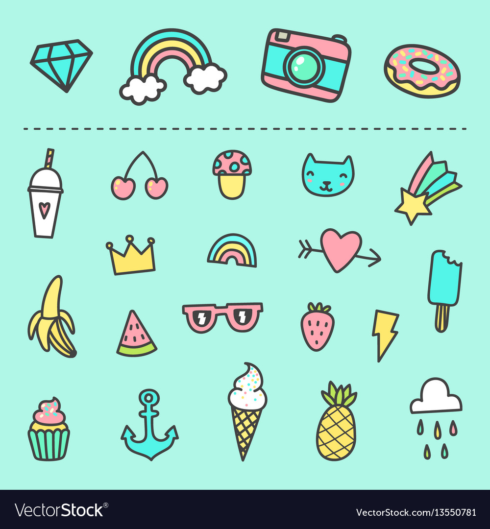 set of cute cartoon stickers royalty free vector image