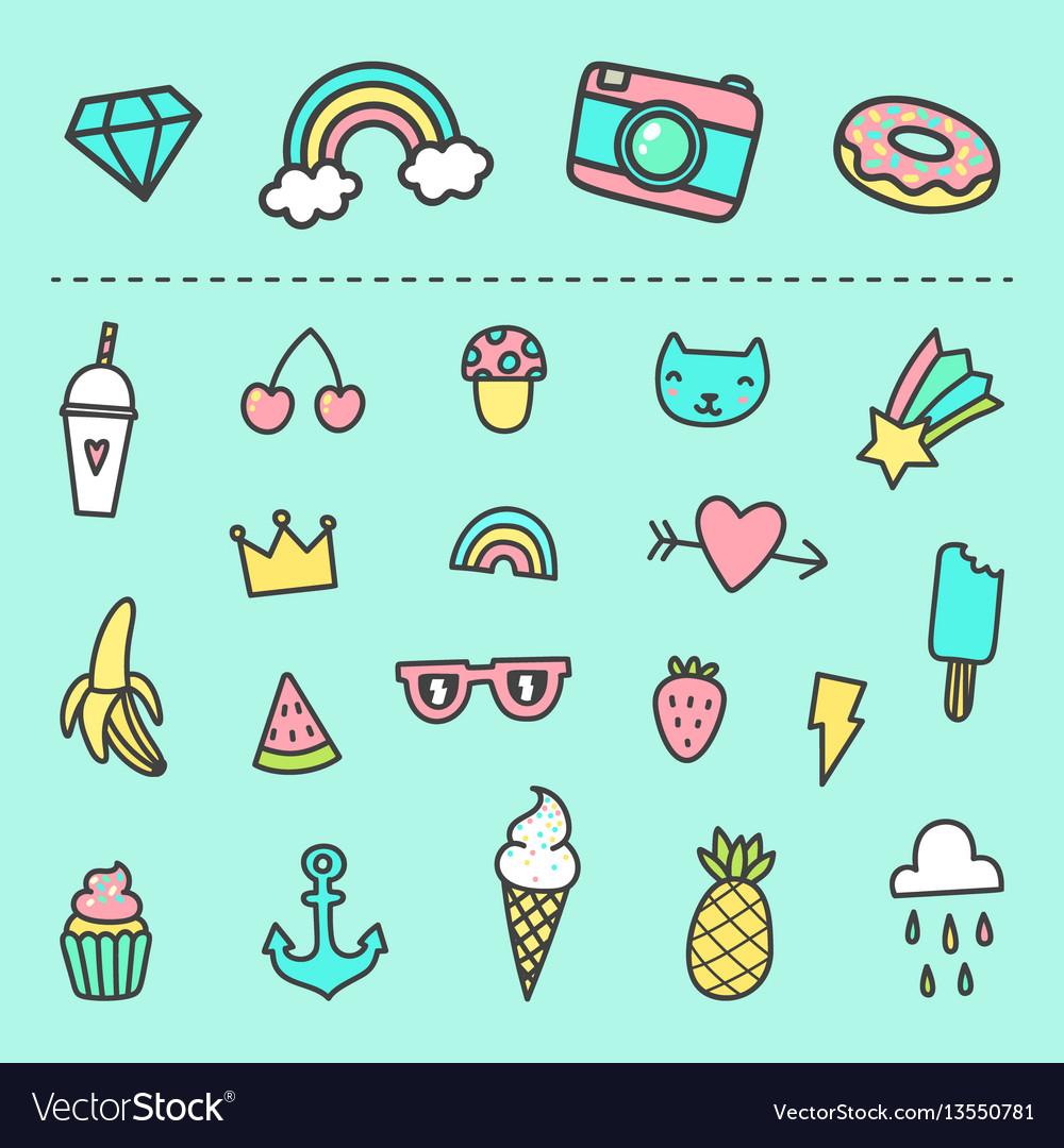 Set of cute cartoon stickers