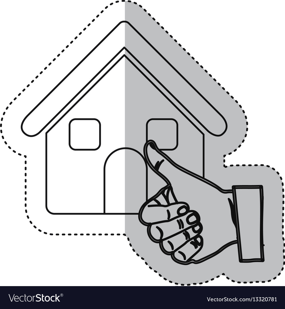 Sticker monochrome contour house with hand thumb
