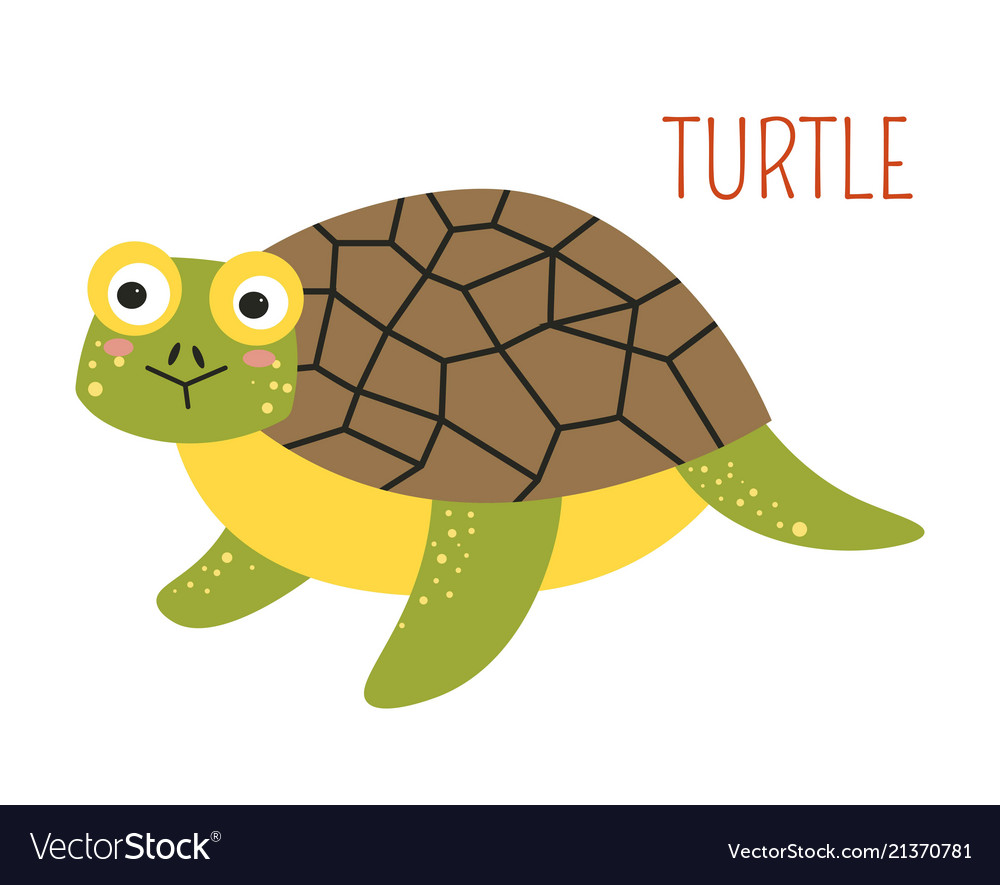 Turtle With Shell Cartoon Childish Book Character Vector Image