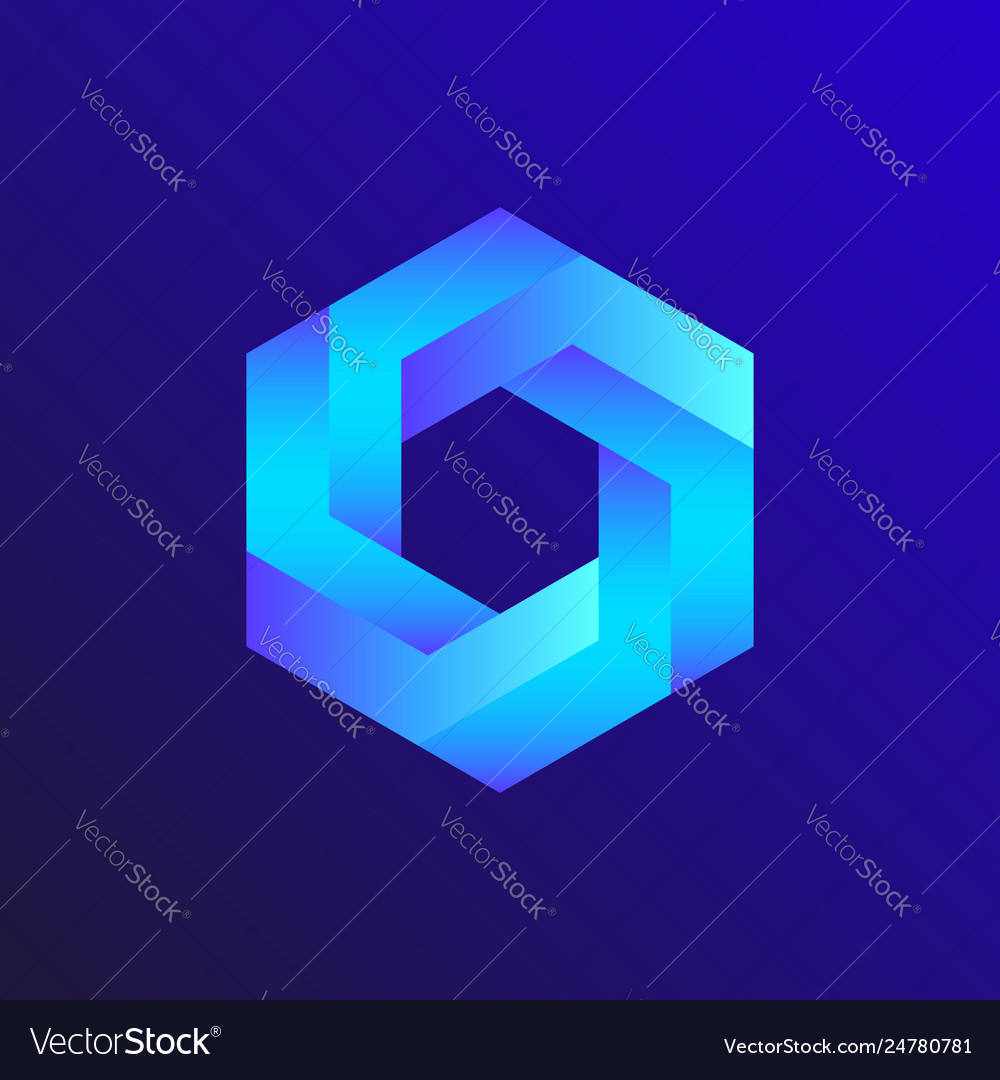 Unreal optical hexagon isometric drawing