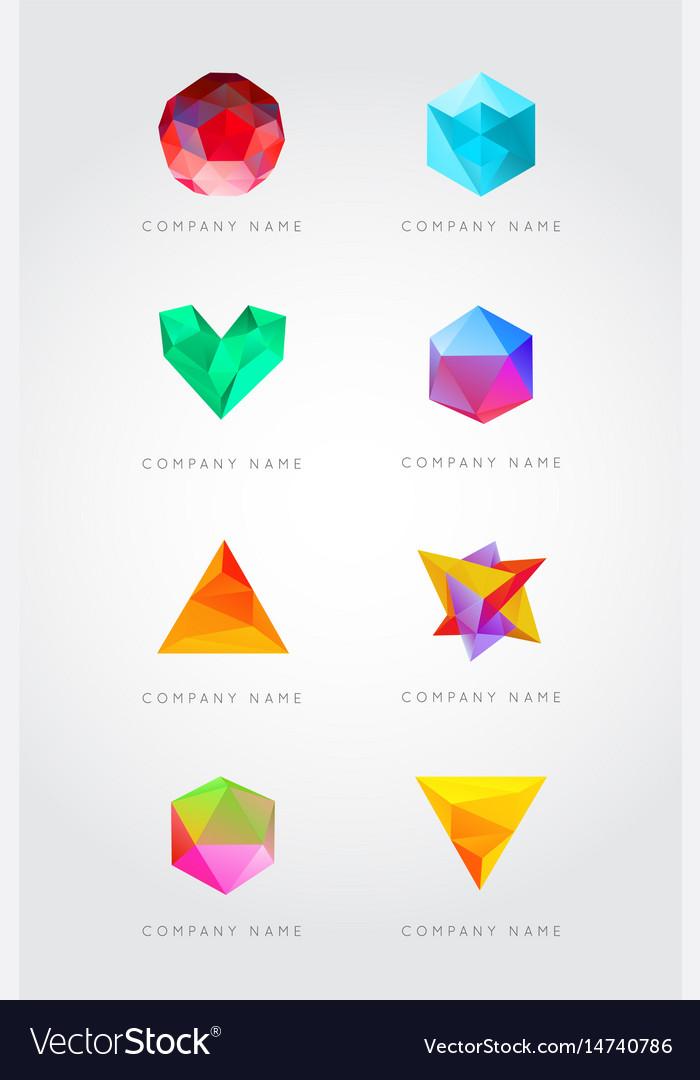 Big set trendy crystal triangulated gem logo