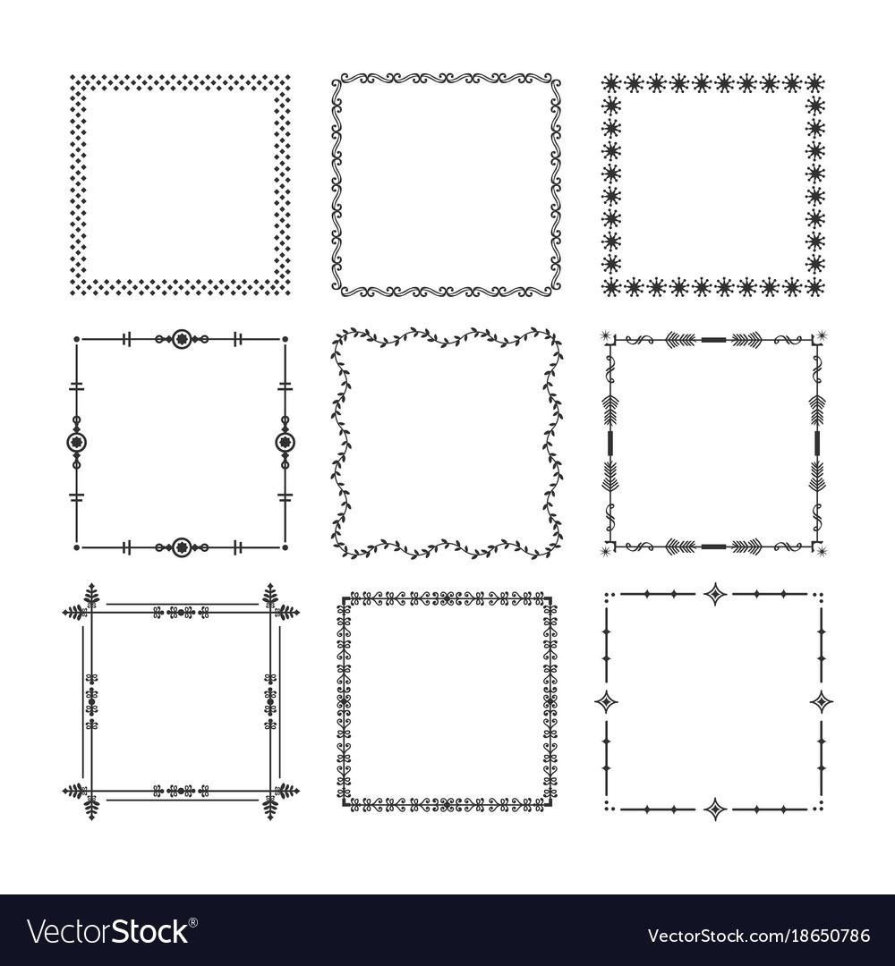Black christmas square frames emblem icons set
