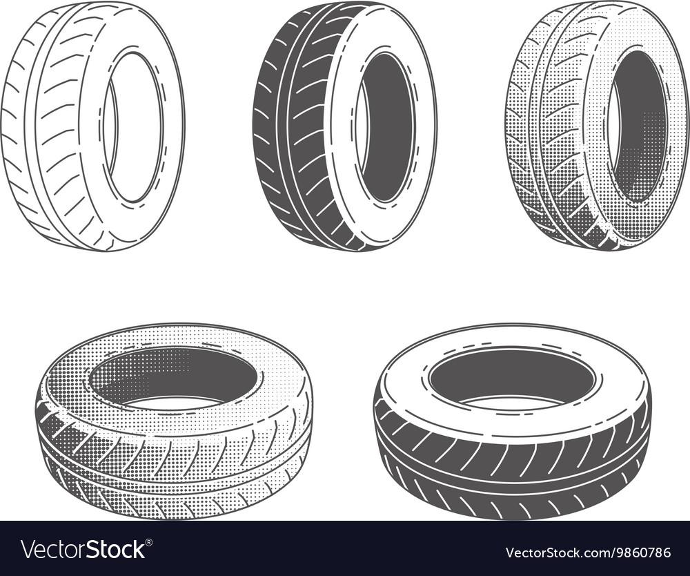 Car tire rubber wheel set