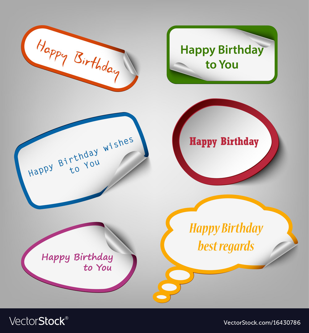 collection of colorful birthday stickers template vector image