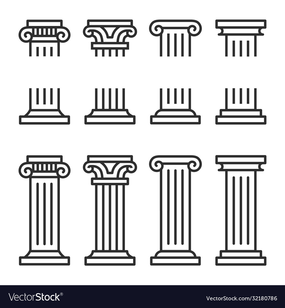 Columns line icon set ancient architecture pillars