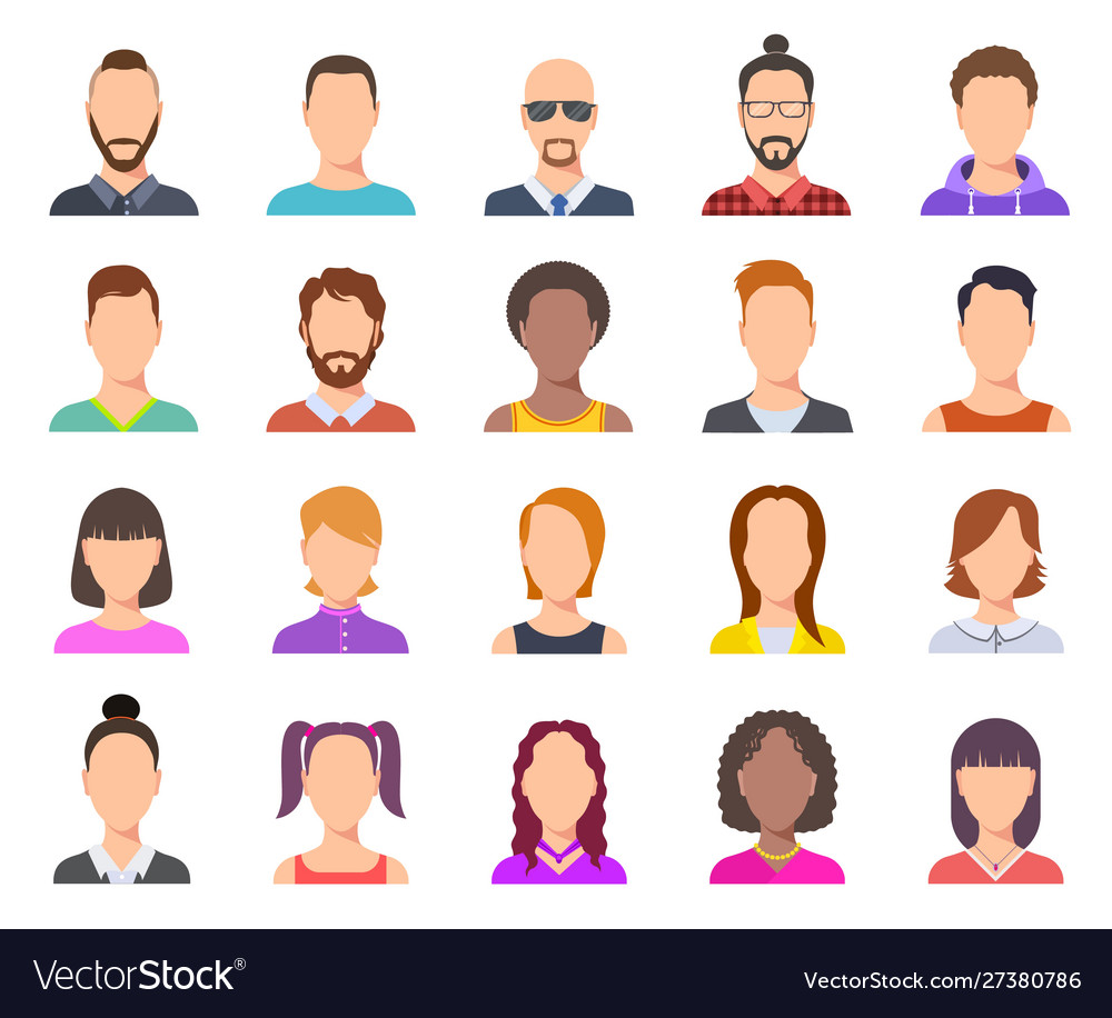 Flat avatars male and female heads business