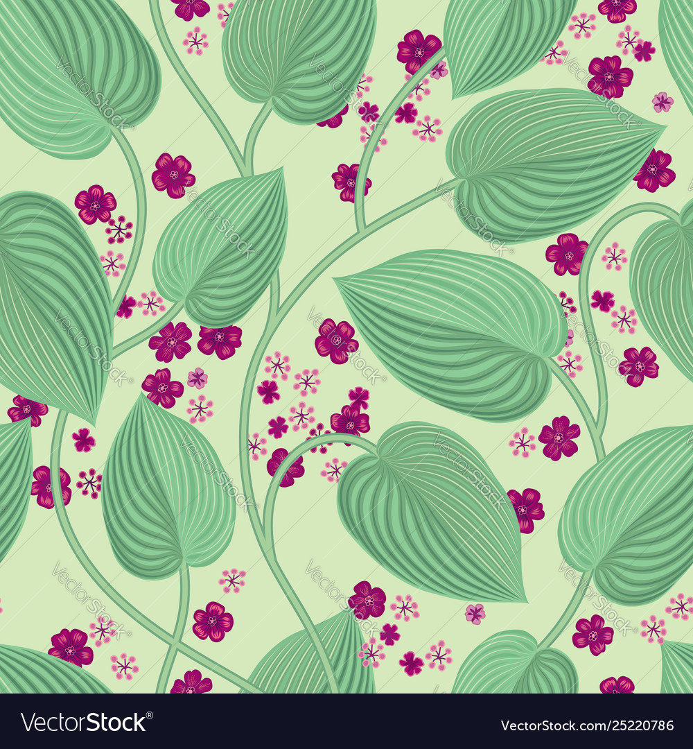 Floral seamless pattern leaves and flowers garden