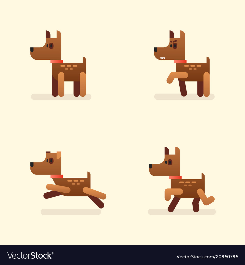 Funny little dog set in different poses brown
