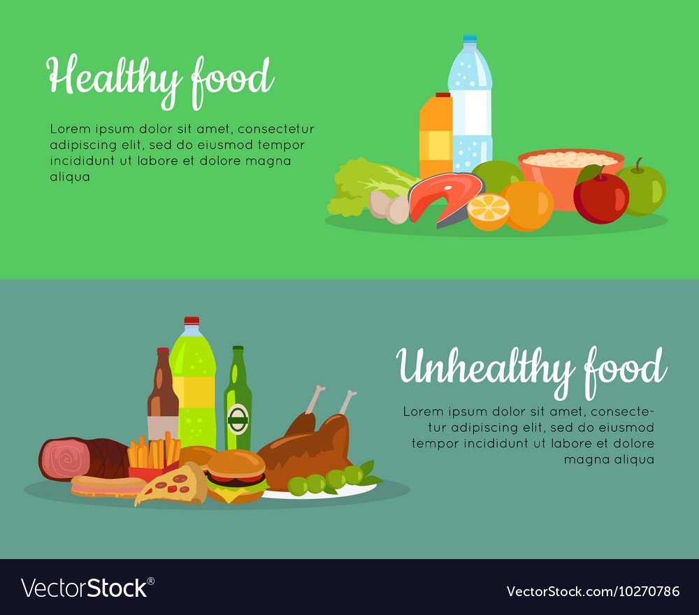Healthy and Unhealthy Food Banner Poster